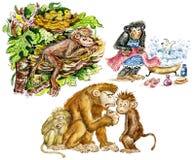 Monos lindos divertidos stock de ilustración
