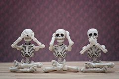 Monos sabios del esqueleto 3 Foto de archivo