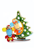 Monos y árbol de navidad del fieltro Imágenes de archivo libres de regalías