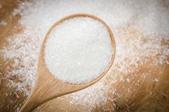 Monosodium Glutamate MSG or E621. MonosodiumGlutamate MSG or E621 on wooden spoon Royalty Free Stock Image