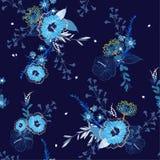 Monotone μπλε άνευ ραφής διανυσματικό floral σχέδιο, φωτεινό και φρέσκο SU διανυσματική απεικόνιση