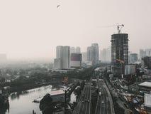 Monotone της άποψης εικονικής παράστασης πόλης στοκ φωτογραφίες