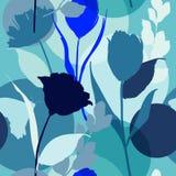 Monotone φωτεινό καλοκαίρι στην μπλε περίληψη σκιαγραφιών tonw seamle ελεύθερη απεικόνιση δικαιώματος