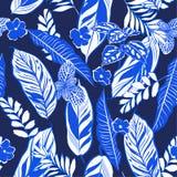 Monotone błękitni tropikalni liście i ulistnienia bezszwowy deseniowy vect Zdjęcie Royalty Free