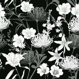 Monotone balck and white botanical blooming garden flowers unfinished line drawing seamless pattern vector. Design for fashion,fabric,wallpaper,and all prints vector illustration