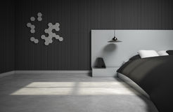 Monotone bedroom design with 3d wall. 3d rendering. Monotone bedroom design  with 3d wall. 3d rendering Stock Images