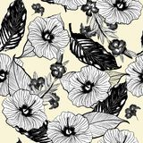 Monotone black line in forest seamless  floral pattern, Li. Ght beige background with tropical flowers, palm leaves, jungle leaf, hibiscus,   paradise flower Stock Image