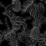 Monotone black and white summer night Outline hand drawing Exoti. Monotone black and white , summer night Outline hand drawing Exotic leaves seamless pattern Royalty Free Stock Images