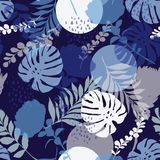 Monotone blue color summer Silhouette Abstract seamless pattern. With leaves and flowers Background with flowers vector vector illustration