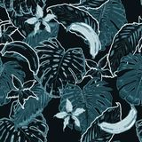 Monotone blue and dark Summer seamless pattern with tropical lea. Ves and branches. Vector decorative on black background of textiles, clothing, accessories Royalty Free Stock Images