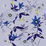 Monotone blue Floral seamless pattern blooming flowers Botanica vector illustration