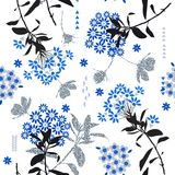 Monotone blue geometric flower  mix with garden leaf  ,colorful. Mood for fashion fabric,wallpaper and all prints on white background Royalty Free Stock Images