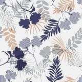 Monotone blue and grey of silhouette tropical foliage and fill i. N stripe leaves in colorful mood  seamless pattern in vector for fashion fabric and all prints Stock Images