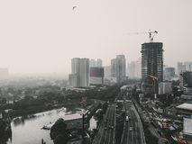 Monotone of cityscape view. From high angle view stock photos