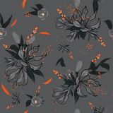 Monotone  Floral pattern in the many kind of flowers with orange. Brush, Botanical  Motifs scattered random. Seamless vector texture.  for fashion fabric and Royalty Free Stock Photo