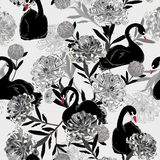 Monotone grey Soft and gentle oreintal blooming flowers with han. D drawing black swan bird in seamless pattern ,vector for fashion fabric and all prints on grey Stock Illustration