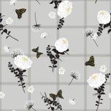 Monotone grijze gevoelige de lentetak van het de zomer naadloze patroon en royalty-vrije stock fotografie