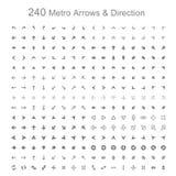 Monotone metro pijlen en richting Stock Foto