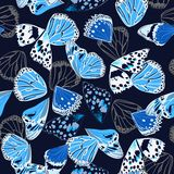Monotone navy and blue colors seamless pattern vectror of butterfly wing surface line hand drawing sketch dsign. For fashion,fabric,web,wallpaper and all prints royalty free illustration