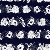 Monotone navy blue and white Trendy Summer  tropical in horizont. Al stripe line with leaves outline ,leaves and hisbiscus flowesr in seamless pattern vector Royalty Free Stock Photo
