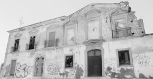 Monochrome old abandoned building in Albufeira royalty free stock photography