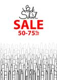 Monotone of pens and brushes layer at the bottom. Monotone of pens and brushes layer at the bottom with text, Back to school sale. Background design for school Stock Images