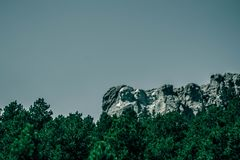 monotone photo of Mount Rushmore , view from the road royalty free stock images