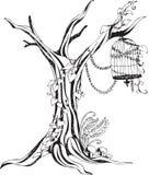 Monotone Tree and Birdcage Royalty Free Stock Photos