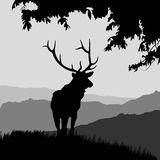 Monotonic illustration of an elk. On a landscape Vector Illustration