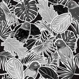 Monotoon zwart-wit Naadloos patroon van monotoon roze toon Tropisch bos met bladeren, papegaaien, palmbladen, stippen, vector illustratie