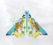 Monotype vivid moth. Monotype vivid colorful moth drawing with different colors on paper background royalty free illustration