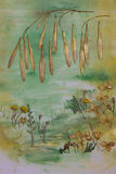 Monotypowy i florystyczny kolaż Zdjęcia Stock