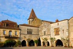 Monpazier (Dordogne, Francia) Fotografie Stock Libere da Diritti