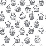 Monpchrome seamless pattern with cupcakes, cute background. Stock Photography