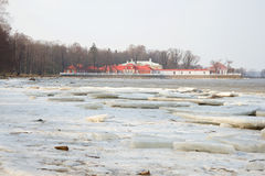 Monplaisir Palace on the gulf of Finland. Peterhof, Russia Royalty Free Stock Images