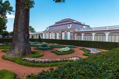 Monplaisir Palace of Peter the Great at Peterhof, Saint Petersbu Stock Photo