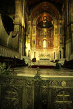 Monreale Cathedral altar & golden mosaics, Sicily Stock Photography