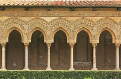 Monreale cloister. Arches and hedge in Monreale cloister, near Palermo, Sicily Stock Photo