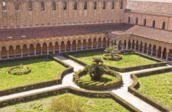Monreale cloister. Cloister panoramic view from Monreale cathedral terrace Stock Photo