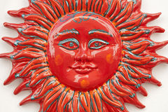 Monreale - detail of red ceramic sun Royalty Free Stock Photo