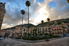 Monreale, Italy, Sicily. August 20 2015. The square Vittorio Emanuele stock image