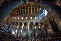 MONREALE, PALERMO, ITALY - AUGUST, 2015:Interior shot of the famous cathedral Santa Maria Nuova of Monreale on August, 2015 in Mon Stock Image