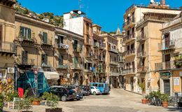 One of the streets in the center of Monreale, is a historic hill town just outside Palermo. Royalty Free Stock Images