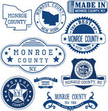 Monroe county, New York. Set of stamps and signs. Royalty Free Stock Photography