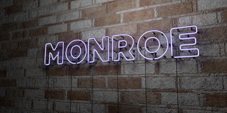 MONROE - Glowing Neon Sign on stonework wall - 3D rendered royalty free stock illustration Royalty Free Stock Photography