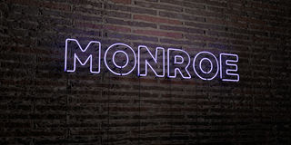 MONROE -Realistic Neon Sign on Brick Wall background - 3D rendered royalty free stock image Stock Photos
