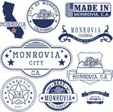 Monrovia city, CA. Stamps and signs Royalty Free Stock Photo