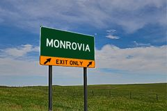 US Highway Exit Sign for Monrovia. Monrovia `EXIT ONLY` US Highway / Interstate / Motorway Sign stock images