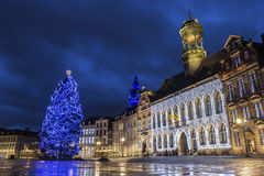 Mons in Belgium. Grand Place with City Hall in Mons in Belgium during Christmas royalty free stock images