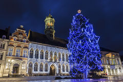 Mons in Belgium. Grand Place with City Hall in Mons in Belgium during Christmas Royalty Free Stock Photography
